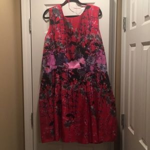 Never worn Red cocktail dress with high neckline